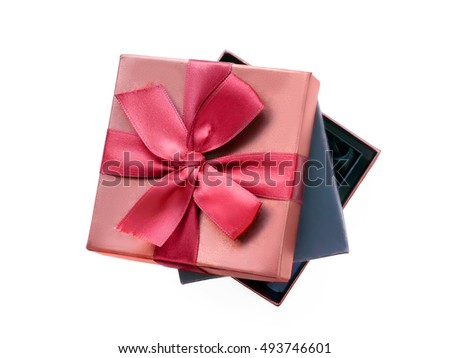 Gift boxes, black one nesting in the brown one with gift ribbon. Isolated on white with clipping path