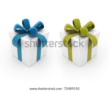 Gift boxes blue and yellow - stock photo
