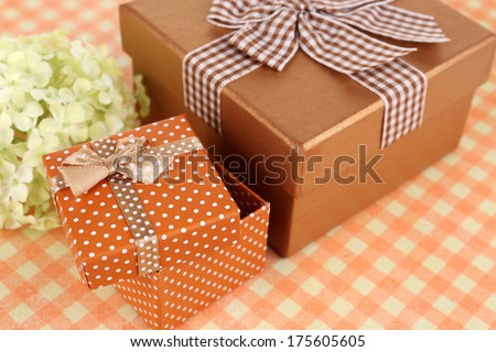 Gift boxes close up