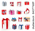 gift boxes collection isolated on white - stock photo