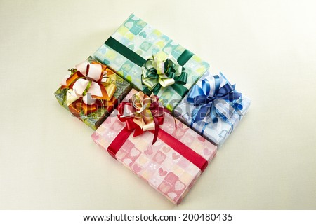 gift boxes collection on white