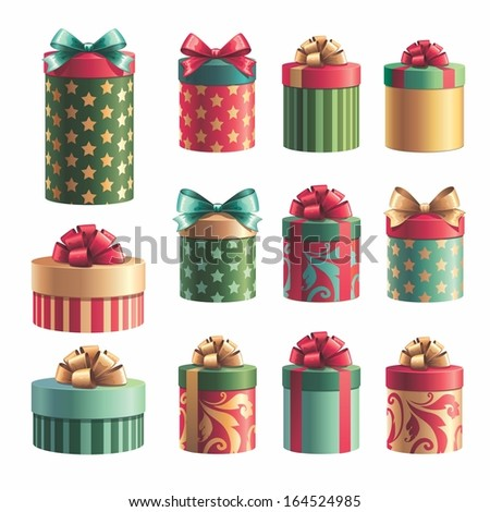 Shutterstockwacomkagift boxes gift boxes design elements set christmas isolated clip art negle