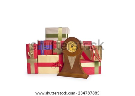 gift boxes in clock - stock photo