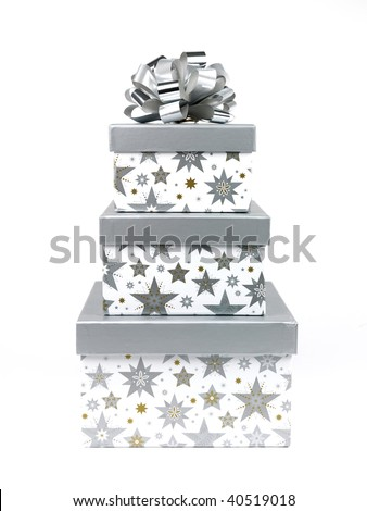 Gift boxes isolated against a white background