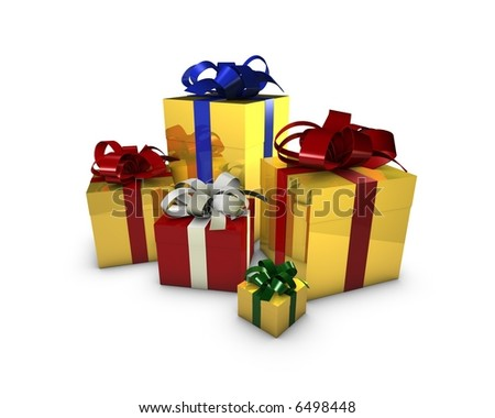 gift boxes isolated in white - stock photo