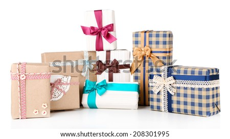 Gift boxes isolated on white - stock photo