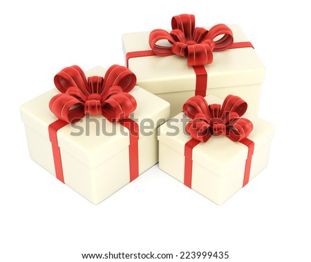 Gift boxes isolated on white background. 3d rendering image