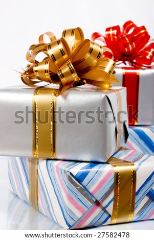 Gift boxes isolated over white - stock photo
