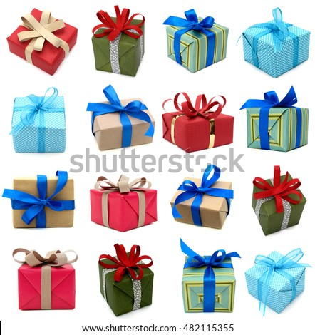 Gift boxes isolated white