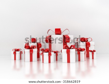 Gift boxes large group with red ribbon - stock photo