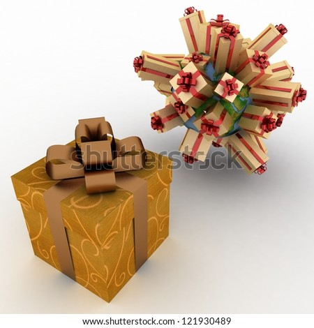 gift boxes located on a globe and big box for gifts - stock photo