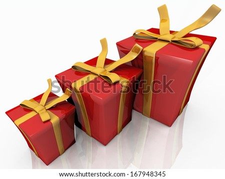 gift boxes of different sizes - stock photo