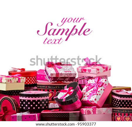 Gift boxes on isolated white background - stock photo