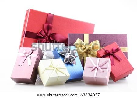 Gift boxes on white background. - stock photo
