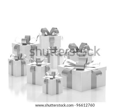 Gift boxes silver ribbon - stock photo