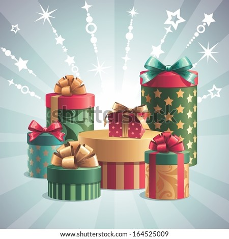 gift boxes stack clip art, holiday greeting card, Christmas illustration