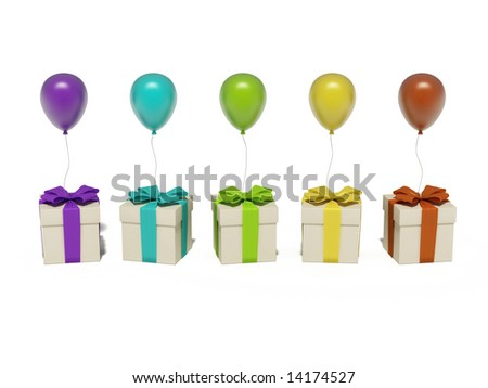 gift boxes with balloons - stock photo