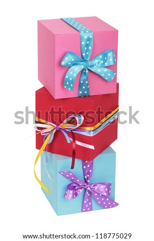 Gift boxes with bows. Isolated on white