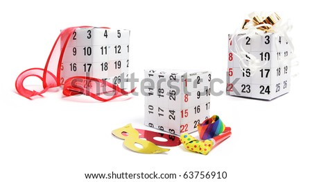 Gift Boxes with Calendar on White Background - stock photo
