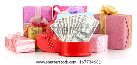 Gift boxes with money isolated on white - stock photo