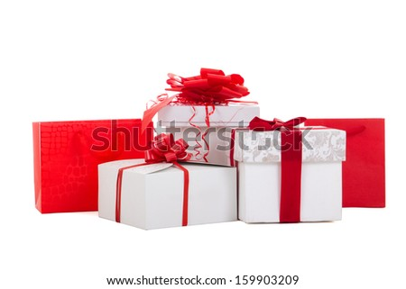 gift boxes with red ribbon isolated on white background