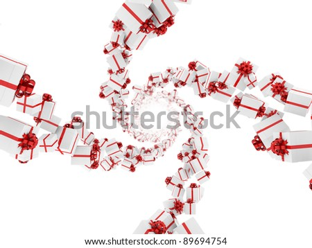 Gift boxes with red ribbons forming four spirals. Isolated on a white background.