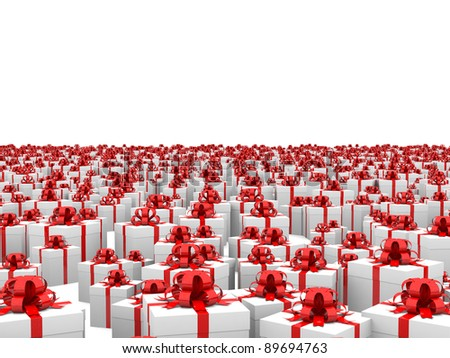 Gift boxes with red ribbons on the endless plane. Isolated on a white background.