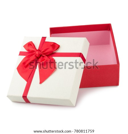 Gift boxes with ribbon bow isolated on a white background.