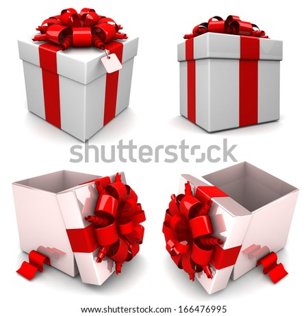 Gift boxes, with ribbon like a present. over white background 3d illustration. Set 4 in 1 - stock photo
