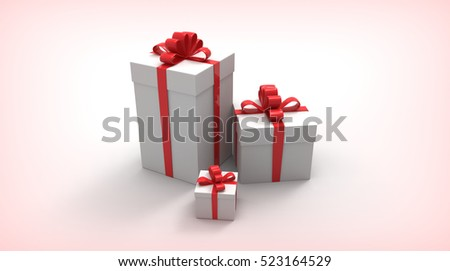 Gift boxes, with ribbon like. Present. 3D rendering.