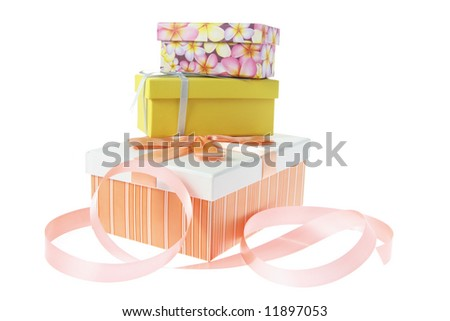 Gift Boxes with Ribbon on White Background - stock photo