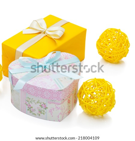 Gift boxes with ribbon  - 1 to 1 ratio - stock photo