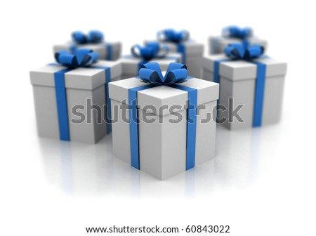 Gift boxes with slight depht of field - stock photo