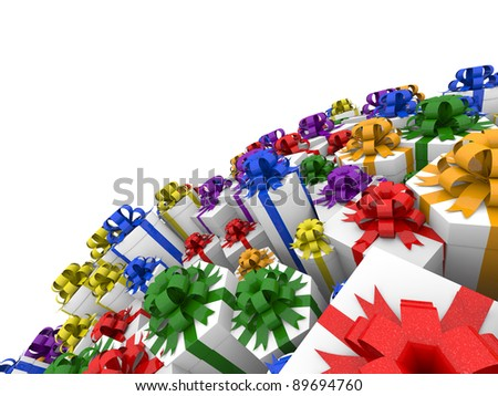 Gift boxes with various color ribbons forming sphere. Isolated on a white background. - stock photo