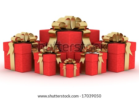 Gift boxs. 3D image. - stock photo