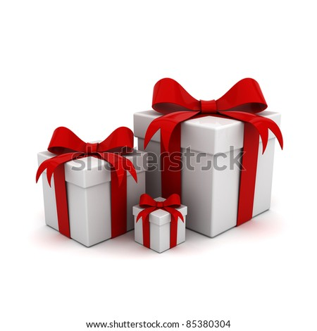 Gift boxs with red ribbon bows isolated on white background - stock photo