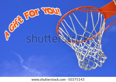 Gift card concept with basketball hoop - stock photo