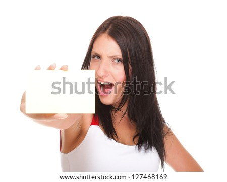 Gift card. Excited woman showing empty blank paper card sign female model isolated - stock photo