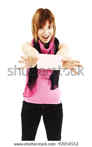 Gift card. Excited woman showing empty blank paper card sign with copy space for text. - stock photo