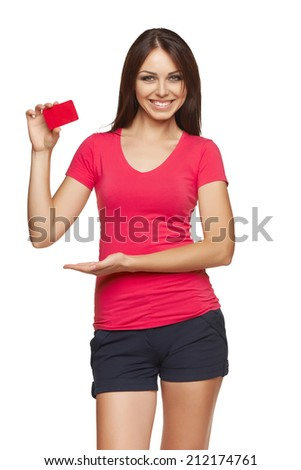 Gift card. Excited woman showing empty blank paper card sign with copy space for text, isolated on white background. - stock photo