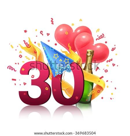 Gift Card Illustration 30 Years Old Stock Illustration 369683504