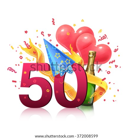 Gift card. Illustration. 50 years old - stock photo