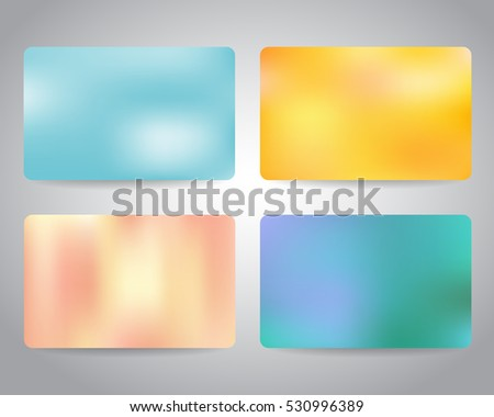 Gift card or discount card set with colorful backgrounds. Pale blue, yellow, pale pink color. Merry Christmas and Happy New Year festive gift cards design