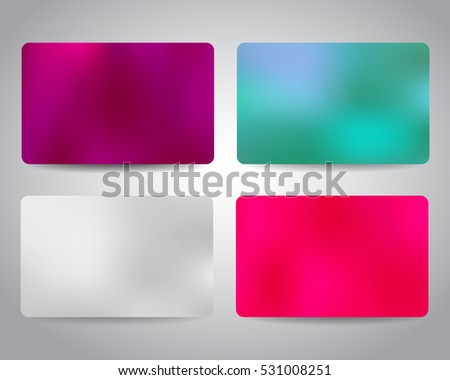 Gift card or discount card set with colorful elegant backgrounds. Purple, blue, white and pink color. Merry Christmas and Happy New Year festive gift cards design