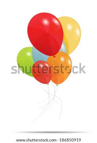 Gift card with balloons  illustration - stock photo