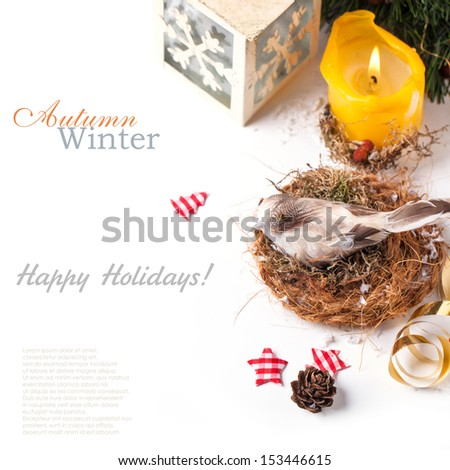 Gift card with bird in nest and burning candle over white with sample text - stock photo