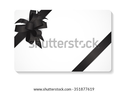 Gift Card with Black Bow and Ribbon Illustration  - stock photo