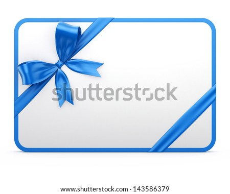 Gift Card with Blue Gift Bow - stock photo