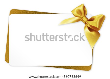 gift card with golden ribbon bow Isolated on white background - stock photo
