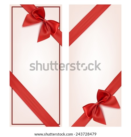 Gift card with red ribbon and a bow. Gift voucher template - stock photo